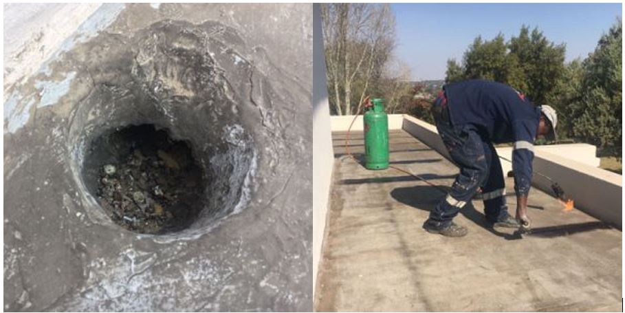 Waterproofing which dresses into outlet pipe is defective and will cause water ingress problems.